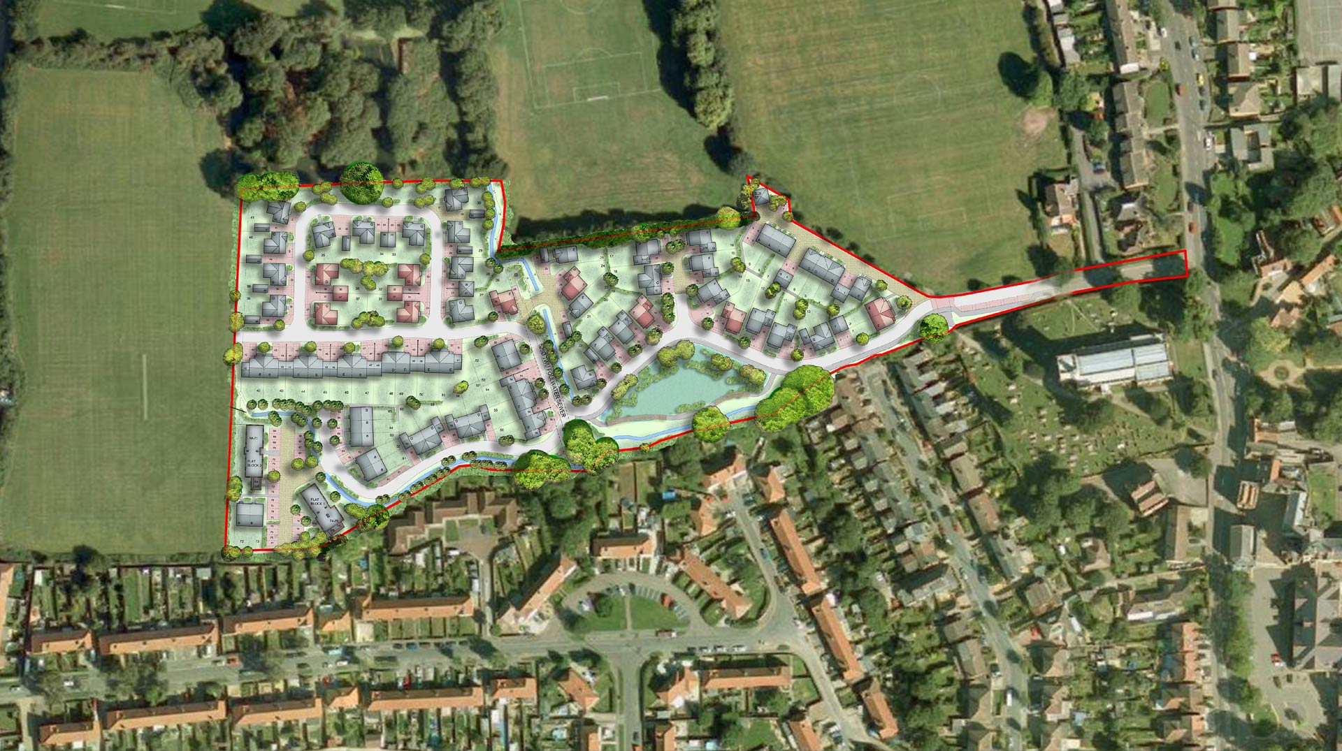 Cheshunt site plan aerial view with overlay